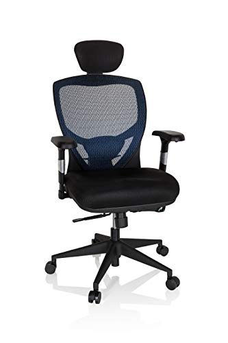hjh OFFICE 657110 Profi Bürostuhl Venus Base Stoff/Netz Schwarz/Blau ergonomischer Drehstuhl, Rückenlehne verstellbar