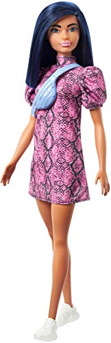 Barbie Fashionistas Doll #143, with Pink Snake Print Dress and Over The Shoulder Bag Toy for Kids 3 to 8 Years Old