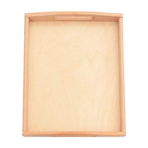 Tongdejing Bandejas de madera para materiales Montessori, estante para cajas de servir, rectangular, con asas para artesanía Montessori