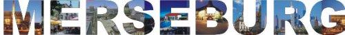 PEMA INDIGOS UG - Wandtattoo Wandsticker Wandaufkleber - Aufkleber farbige Wandschrift Städtename Städtename Merseburg mit Sehenswürdigkeiten 180 x 22 cm Länge