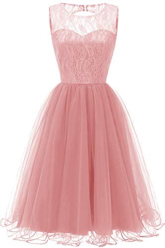 Damen A-Linie Hochzeitskleid Abschlusskleid Abendkleid Knielang Gr.L