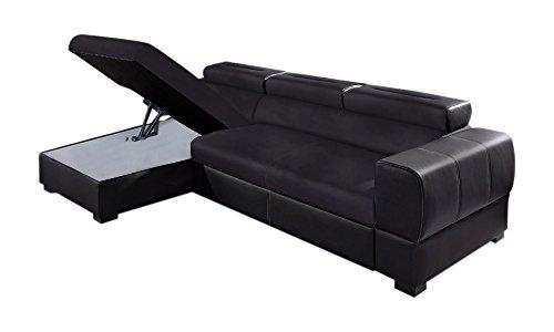 Relaxima Trésor Canapé d'Angle Convertible Gauche avec Coffre Têtière Amovible Bois Noir/Noir 266 x 160 x 90 cm