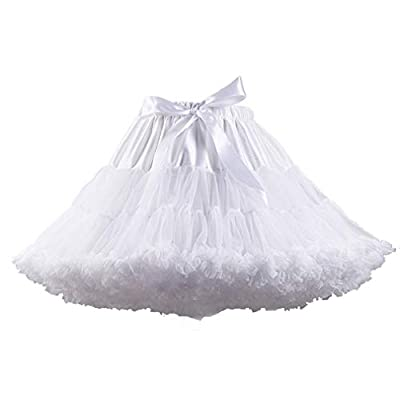 XinChangShangMao Women's Soft Chiffon Petticoat Tutu Skirt White