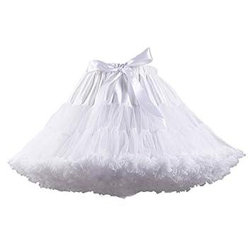 XinChangShangMao Women s Soft Chiffon Petticoat Tutu Skirt White