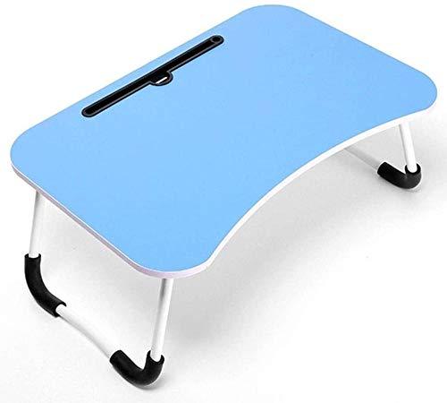 Mesa plegable para cama o dormitorio o dormitorio o portátil multifuncional simple mesa pequeña (70 cm x 48 cm) (color gris) - azul