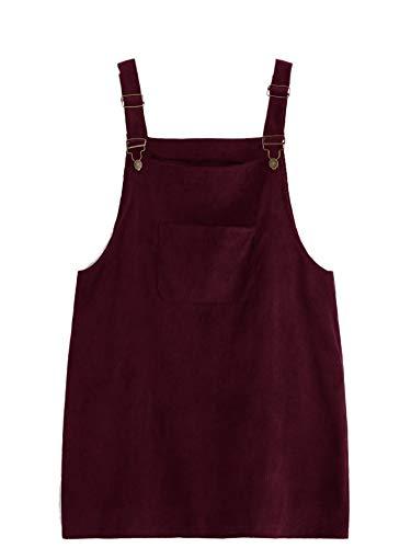 Romwe Women's Plus Size Pocket Front Adjustable Straps Corduroy Pinafore Short Dress Burgundy 2X Plus