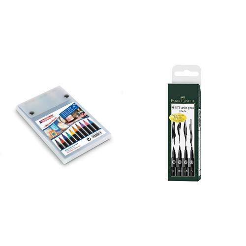 edding 1340 Brush Pen - Fasermaler mit variabler Spitze - 10er Set , Farblich sortiert & Faber-Castell 167139 - Tuschestift Pitt artist pen 4er Packung: 1.5, SC, SB, B, schwarz