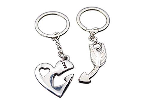 AtlantisForYou Geschenk Paar-Schlüsselanhänger Liebhaber Herz + Pfeil Geschenk für Valentinstag Hochzeit Geburtstag Freundin Freund