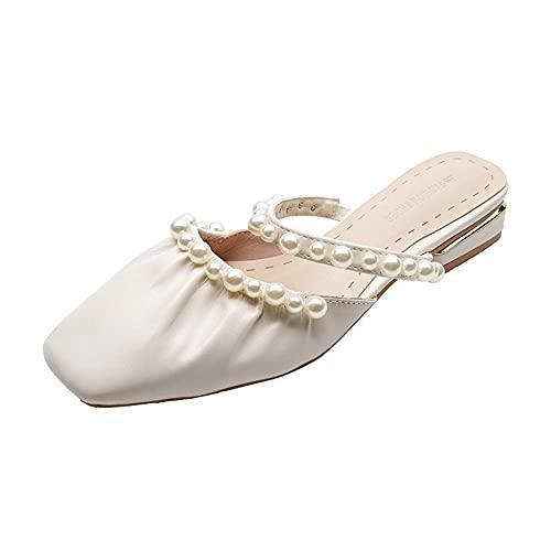 ypyrhh Planas Caminar Ortopedicas Zapatos,Baotou Fashion Pearl Half Drag,Zapatos de Muller Planos-Blanco Crema_37,Baño Sandalia Suela De Suave
