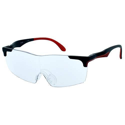 メガネ型ルーペ スポーツ 1.6倍/1.8倍 拡大鏡 メガネ巾着(拭き) 付き ルーペ オーバーグラス (1.6倍, ブラック)