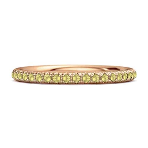 Shine Jewel Multi Elija su Piedra Preciosa Eternidad Colección Band 0.40 Ctw Anillo Apilable Chapado En Oro Rosa De Plata De Ley 925 (13, limón-Cuarzo)