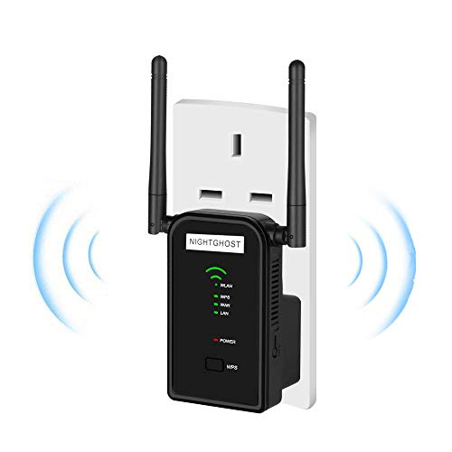 NightGhost WiFi Range Extender, 2.4GHz 300Mbps WiFi Booster Router inalámbrico Punto de Acceso Amplificador de señal Wi-Fi Hotspot Mini Router Ap Repetidor 2 Antenas externas -EUtype