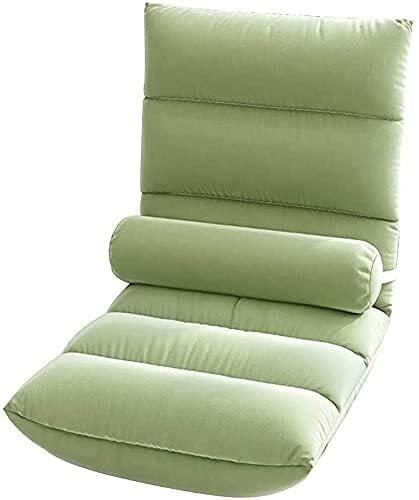 Silla reclinable con respaldo, silla de piso para juegos con 6 posiciones ajustable, extraíble gris y lavable, silla de meditación cómoda para leer juegos de meditación (tamaño : verde)