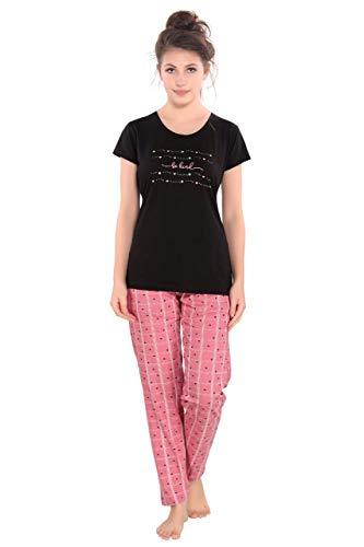 R-S Fashion Women's Premium Printed Cotton Top and Pyjama Night Wear Suit Set (M to 4XL) (4789B Black Peach, X-Large)