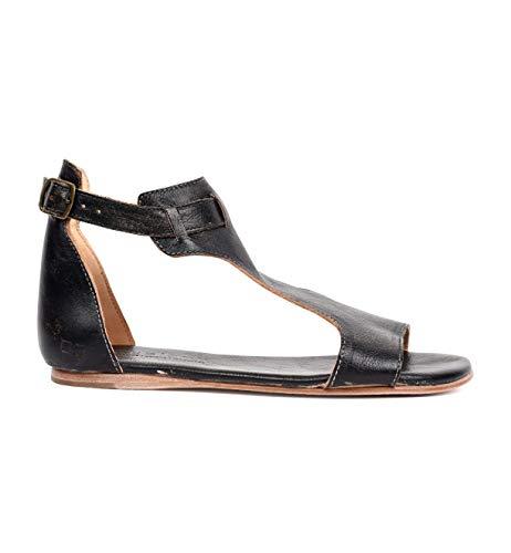 BED STU Women's Sable Flat Sandal, Black Hand Wash, 6 M US