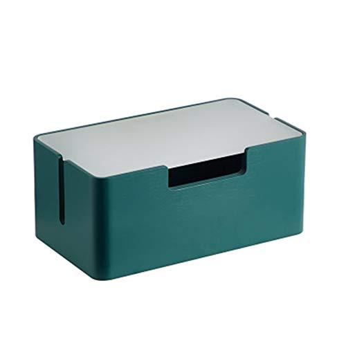 Caja para Cables Caja de alimentación de alimentación de Madera Maciza Caja de recopilación de la Caja de Datos de la Caja de Conexiones Cable Tidy Box (Color : Verde, Size : One Size)