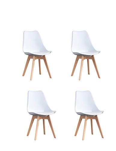 00 sillas de comedor retro con respaldo y asiento acolchado suave, patas de madera de haya maciza, estilo contratado, seguro y cómodo, color blanco puro (juego de 4)