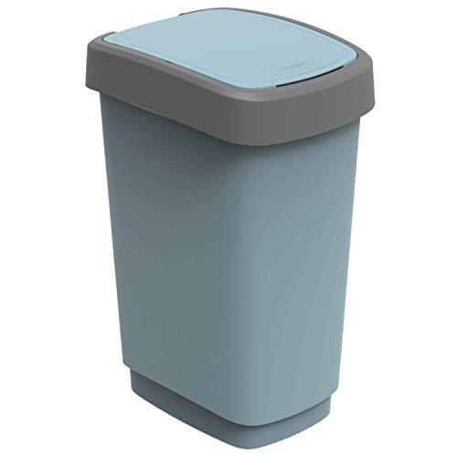 Preisvergleich Produktbild Rotho Twist Mülleimer 25l mit Deckel,  Kunststoff (PP recycelt) BPA-frei,  blau,  25l (33, 3 x 25, 2 x 47, 6 cm)