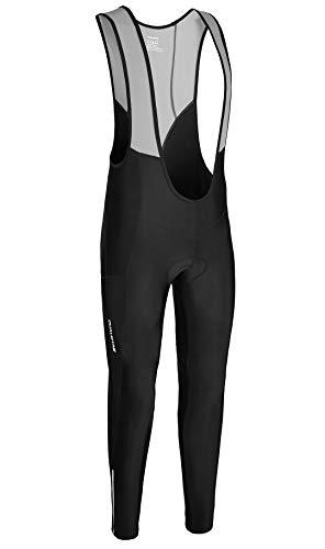 qualidyne - Pantaloni lunghi termici da ciclismo, da uomo, con imbottitura Coolmax in spugna 4D e inserti catarifrangenti, Uomo, Nero , M