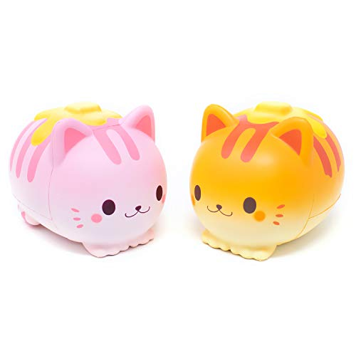 iBloom Nyan Pancake Cat Slow Rising Squishy Toy (Strawberry & Bread, 5.9 Inch, 2 Pieces Set) [Birthday Gift Box, Party Favors, Gift Basket, Stress Relief Toys for Kids, Adults]