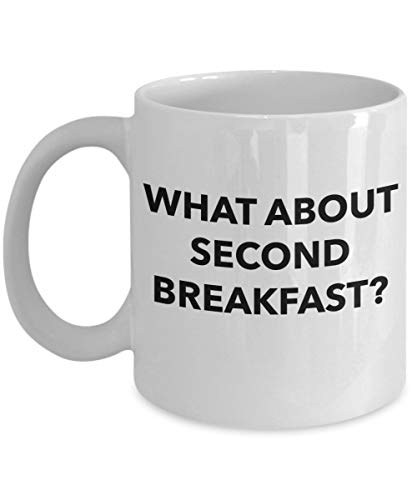 What About Second Breakfast Coffee Mug, Fun Lord of The Rings Hobbit Inspired, Makes a Great Gift and Present