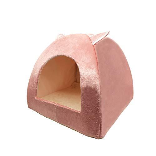 AIHONG Portátil Cama de Gato de 2 en 1 Plegable Casa de Interior Gatito de Interior Cálido para Pet Pet Pet Pet Nest Kitty Cava Cava Dormir Cozy PULSURS para Conejo, Ardilla, Gatito, Cachorro