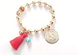 Gold Plated Red Tassel Bracelet 8 Inches Pulsera San Benito Big Medal