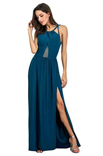MXIU Women's Sexy Backless Gauze Dress Long Skirt Solid Color Stitching Split Nightclub Large Size Dress Blue
