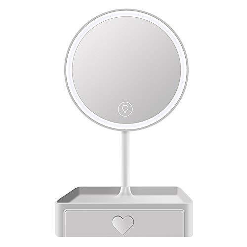 Miroir De Maquillage De Table,Miroir Maquillage Professionnel,LED Miroir De Maquillage Design De Boîte De Rangement Lumière 3 Tons Loupe 5 Fois Convient pour Le Maquillage Etc