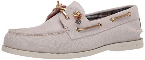 Sperry Women's A/O PlushWave Metallic Leather Boat Shoe, Linen, 7 M US