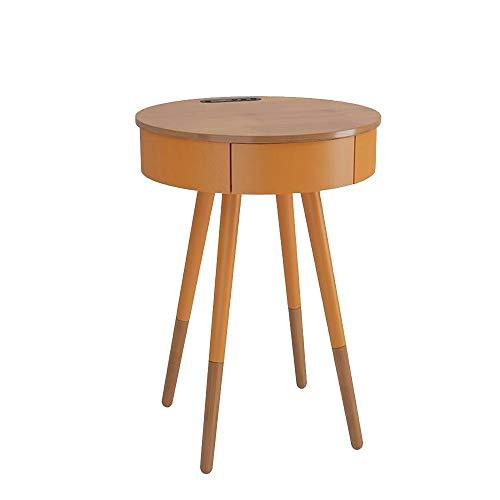 Jcnfa-Tische Smart End Table opladen - 360 ° Bluetooth luidspreker luide surround HD-geluid, met USB-laadingangen, lade, nachtkastje van hout, 3 kleuren
