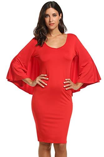 Ekouaer Women's Chiffon Cocktail Party Dress Overlay Midi Dress Red