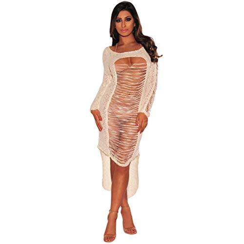Sexy Vestido de una pieza Hermosa Hollow Out Falda irregular para mujer Dama Mujer (Blanco crema, Tamaño M)