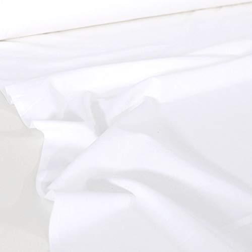 TOLKO 50cm Baumwollstoffe Meterware | der Klassiker zum Nähen Dekorieren | Reine Oeko-Tex Baumwolle | Natur Baumwoll-Nesselstoff als Kleiderstoff Dekostoff Bezugsstoff Vorhang Sonnenschutz (Weiß)