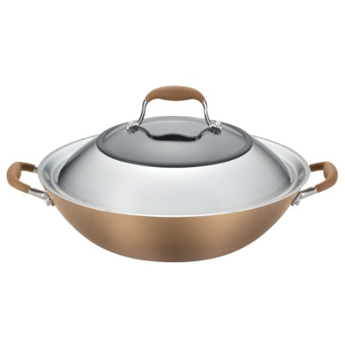 Anolon Advanced Hard Anodized Nonstick Stir Fry Wok Pan with Lid, 14 Inch, Bronze Brown