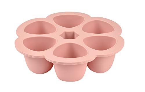 BÉABA, Contenedores Multiporciones en Silicona, Primera Calidad, Resistencia Térmica Extrema, Horno y Microondas, 6 compartimentos, Hermética, Fabricado en Italia, 6 x 90 ml, Pink