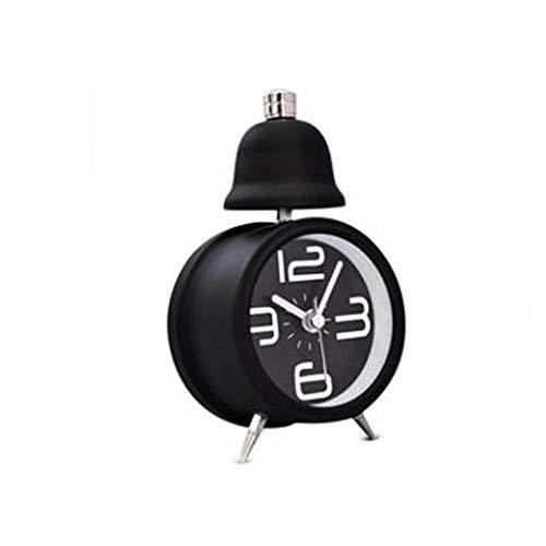 liushop Reloj De Escritorio Clásico, silencioso, Lindo, pequeño Reloj Despertador y luz Nocturna, Solo Campana, Reloj Despertador con Pilas Despertador De Escritorio (Color : Black)