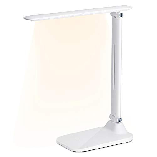 Shnvir Schreibtischlampe LED, 7W Büro Tischleuchte, Leselampe, 3 Helligkeit × 3 Farbmodi, Dimmbar Tischlampe, USB Ladeanschluss Memory-Funktion Touch Control, Augenschonende LED, Tragbar, Licht