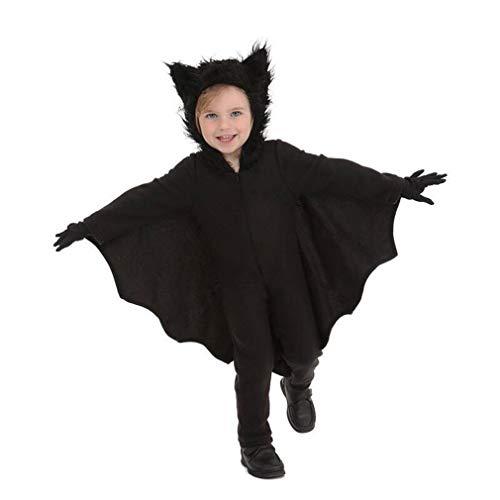 HUAM Costume di Halloween Ragazzi Ragazze Performance Abbigliamento Natale Bat Caricamento Cosplay Abbigliamento Carnevale Nero (Colore : Nero, Dimensione : M)