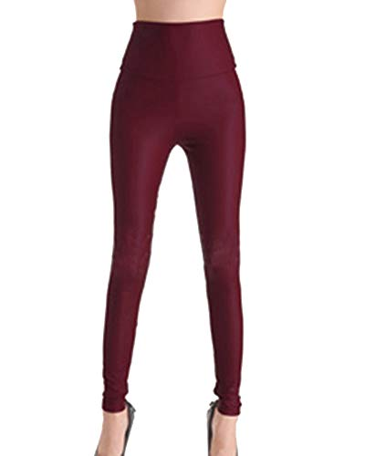 Guiran Mujeres PU Cuero Leggings Skinny Elásticos Treggings Pantalones Cintura Alta Push Up Leggins Vino RojoGY XS