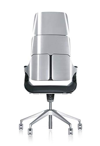 Interstuhl Silver 362S Ascot leer managersstoel metalen delen zilver glanzend geborsteld