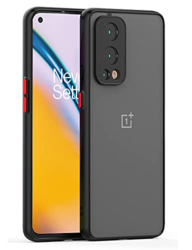 Indiacase Smoke Cover Protective Case for OnePlus Nord 2 5G/1+Nord 2 2 Layer Protection Smoke Hard Rubberized Transparent Bumper Back Smoke Case Cover for OnePlus Nord 2 5G/1+Nord 2 [Blur Black]