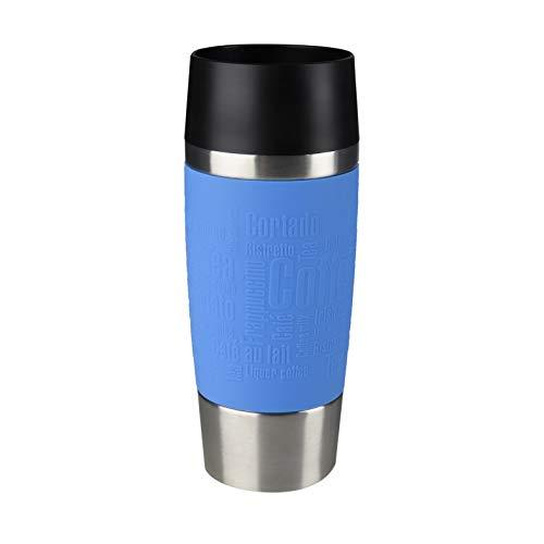 Emsa Travel Mug - Taza térmica de 0.36 l, mantiene calor 4 h y frío 8 h, acero inoxidable con base antideslizante y zona de agarre de silicona con letras grabadas, color azul cielo