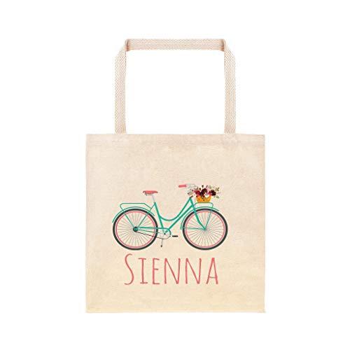 Fiets met Bloem Mand Gepersonaliseerde School Tas Aangepaste Bike Book Bag Leuke Strand Cruiser Kids Aangepaste Tas School Tas