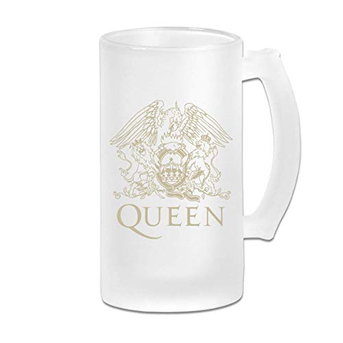Taza de jarra de cerveza de vidrio esmerilado impresa de 16 oz - Logotipo de Queen Band - Taza gráfica