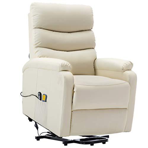 vidaXL Sillón de Masaje Reclinable con Respaldo Ajustable Reposapiés Asiento Salón Oficina Mueble Elevador Ergonómico de Cuero Sintético Blanco Crema
