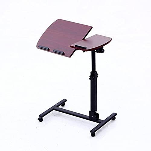 Mesa de sofá en forma de C Mesa para computadora portátil portátil y mesa para computadora portátil Mesa auxiliar para el hogar Mesa para computadora portátil Carro de oficina en cas(Color:Nuez roja)