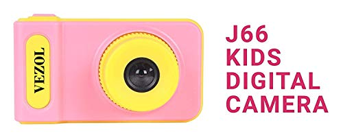 VEZOL Kids Digital Camera, 2-inch Screen 1080 HD Video Recorder Camcorder with Loop Recording Digital Camera for Kids Child Camera (Pink & Yellow)