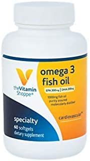 The Vitamin Shoppe Omega 3 Fish Oil 1,000MG, EPA 300mg DHA 200mg, Purity Assured, Molecularly Distilled to Support Cardiovascular, Joint and Brain Health Citrus (60 Softgels)