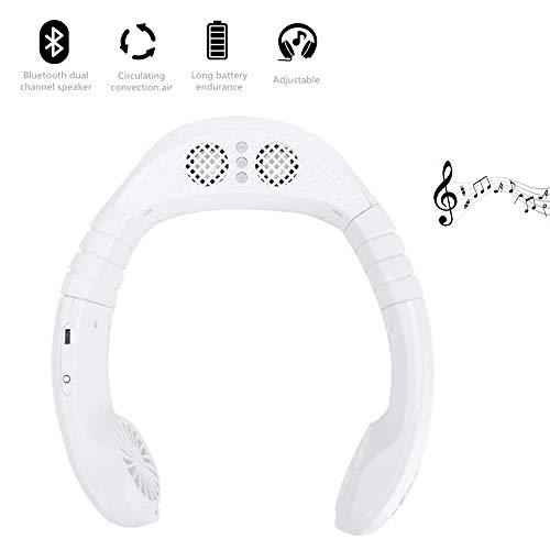 GHmarine Ventilador de aire acondicionado, carga USB, portátil, Bluetooth, deportes, manos libres, cuello para colgar música, para el hogar, al aire libre, interior (blanco)